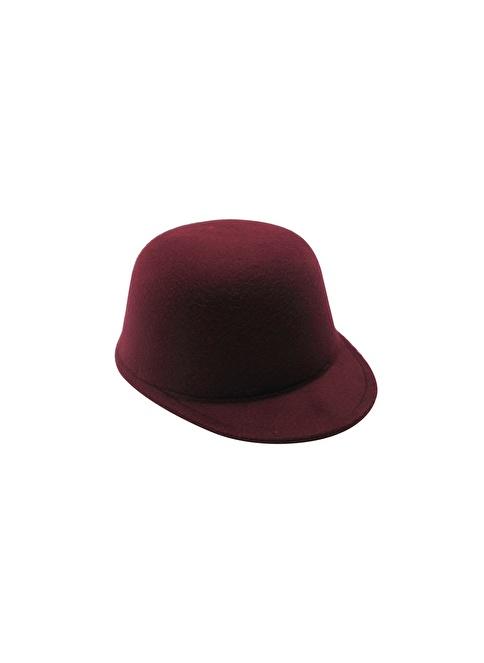 Laslusa İçten Ayarlanabilir Düz Jokey Keçe Şapka Bordo